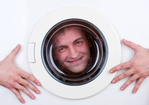 happy man in washing machine