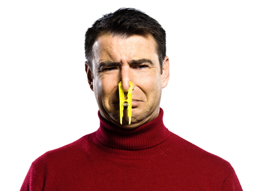 man with a peg on his nose